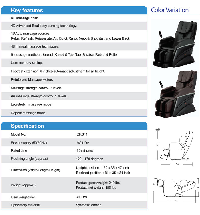Fujita massage chair specifications